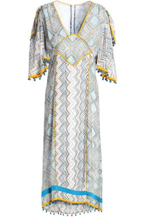 TALITHA Pompom-embellished printed silk midi dress