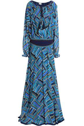 TALITHA Embellished embroidered printed silk-chiffon maxi dress