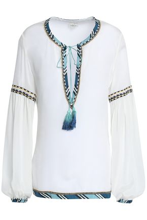 TALITHA Tasseled embroidered crepe de chine top