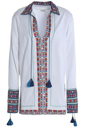 TALITHA Tasseled embroider-trimmed ribbed-cotton tunic