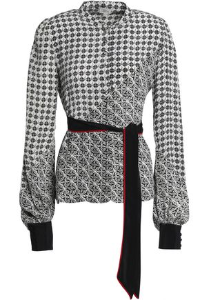 TALITHA Belted printed silk blouse