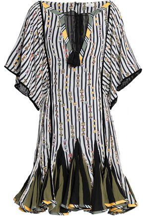 TALITHA Tasseled printed silk-chiffon mini dress