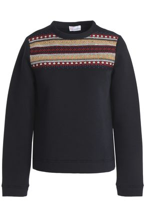 REDValentino Embroidered cotton-neoprene sweatshirt
