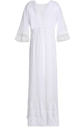 TALITHA Crochet-trimmed embroidered cotton-gauze maxi dress
