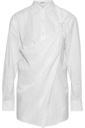 CHALAYAN Knotted draped cotton-poplin shirt