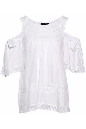 LOVE SAM Cold-shoulder crochet-paneled gauze blouse
