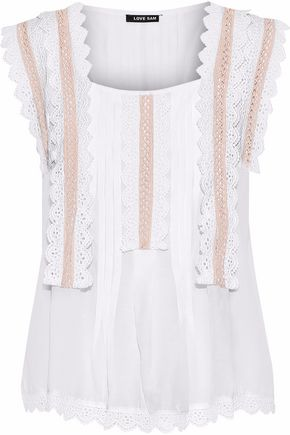 LOVE SAM Crochet-trimmed pintucked gauze blouse