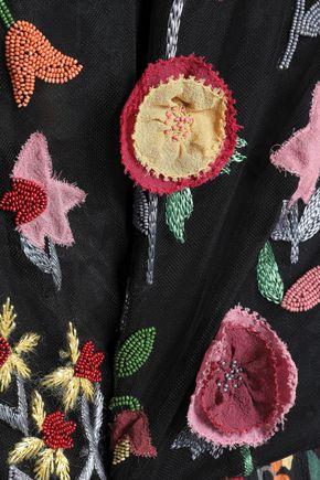 REDValentino Embellished floral-print crepe de chine jumpsuit