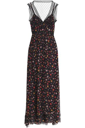 REDValentino Point d'esprit and tulle-trimmed printed silk-georgette maxi dress