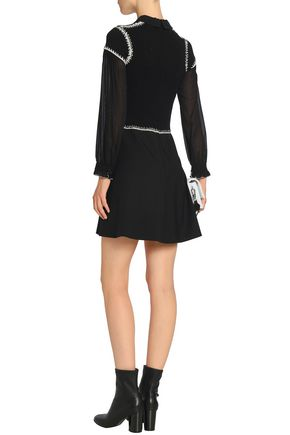 REDValentino Crochet-trimmed ribbed-knit and georgette mini dress