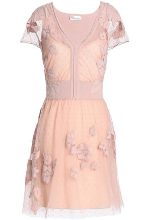 REDValentino Appliquéd point d'esprit and knitted mini dress