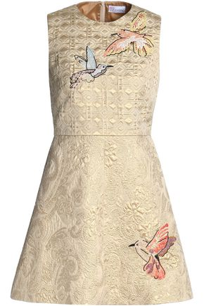 REDValentino Embroidered metallic brocade mini dress