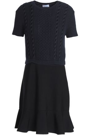 REDValentino Fluted stretch and cable-knit mini dress