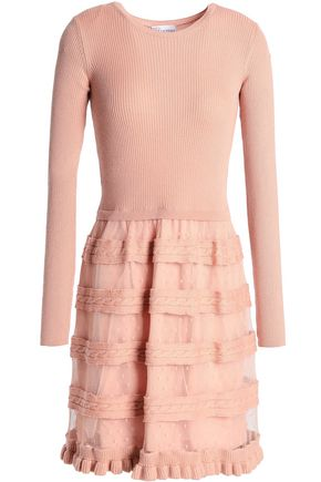 REDValentino Ribbed and cable-knit wool and point d'esprit mini dress