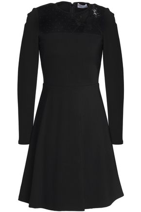 REDValentino Embellished point d'esprit and ponte mini dress