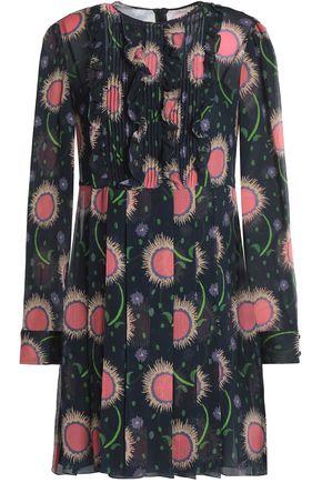 REDValentino Pintucked printed silk-georgette mini dress