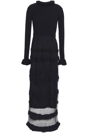 REDValentino Wool-paneled ruffle-trimmed point d'esprit maxi dress
