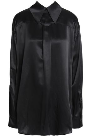 ANN DEMEULEMEESTER Velvet-trimmed silk-satin shirt