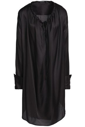 ANN DEMEULEMEESTER Tie-back gathered satin tunic