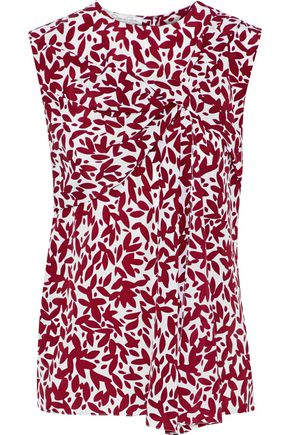OSCAR DE LA RENTA Gathered printed silk top