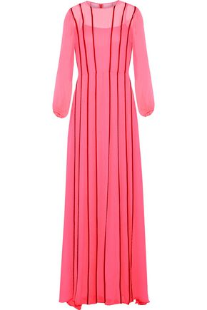 ADAM LIPPES Satin-trimmed silk-chiffon gown