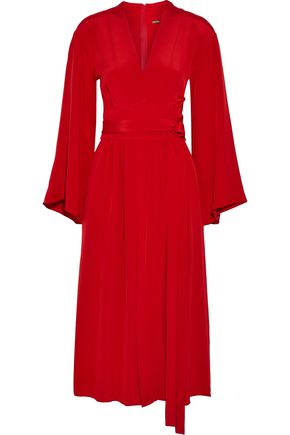 ADAM LIPPES Wrap-effect silk-crepe midi dress