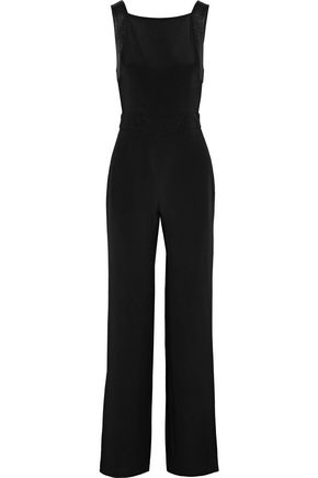 ADAM LIPPES Open-back satin-trimmed silk-crepe jumpsuit