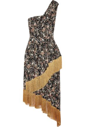 ADAM LIPPES One-shoulder fringe-trimmed floral-print silk midi dress