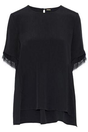 ADAM LIPPES Lace-trimmed silk T-shirt
