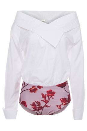 JOHANNA ORTIZ Cotton-blend poplin and printed jersey bodysuit
