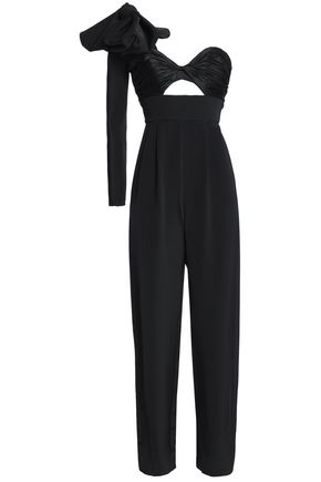 JOHANNA ORTIZ One-shoulder bow-detailed silk-cady jumpsuit