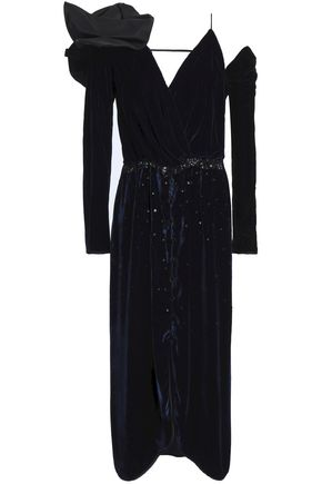 JOHANNA ORTIZ Bow-embellished embroidered velvet midi dress