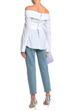 JOHANNA ORTIZ Off-the-shoulder gathered cotton-poplin blouse