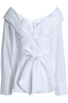 JOHANNA ORTIZ Off-the-shoulder gathered cotton-poplin blouse
