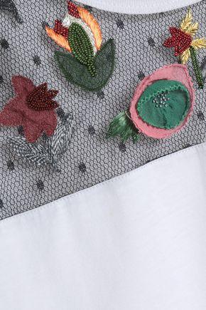 REDValentino Embellished point d'esprit-trimmed cotton-jersey T-shirt