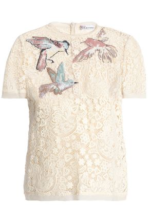 REDValentino Crepe de chine-trimmed embroidered guipure lace top