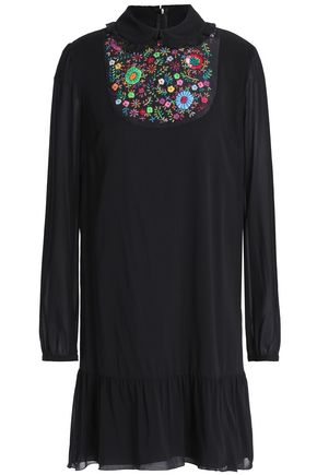 REDValentino Ruffle-trimmed embroidered silk-blend georgette mini dress