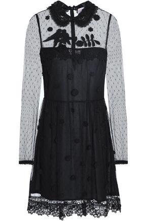 REDValentino Crochet-trimmed floral-appliqéd point d'esprit mini dress