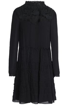 REDValentino Lace-trimmed ruffled crepe and point d'esprit mini dress