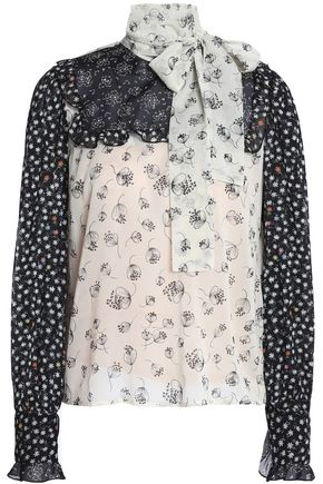 REDValentino Pussy-bow printed silk-blend georgette blouse