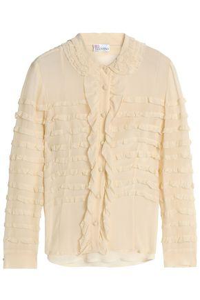 REDValentino Ruffled silk-georgette shirt