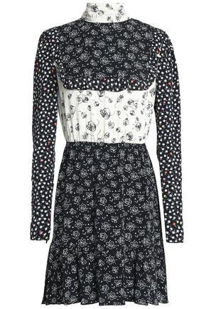 REDValentino Printed crepe de chine and cloqué mini dress