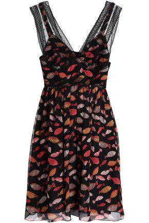 REDValentino Point d'esprit-trimmed printed silk-georgette mini dress