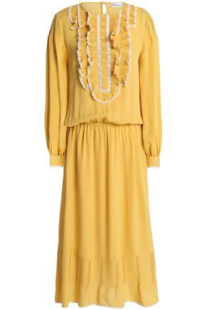 REDValentino Ruffle-trimmed silk crepe de chine midi dress