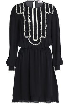 REDValentino Ruffled lace-trimmed silk crepe de chine mini dress