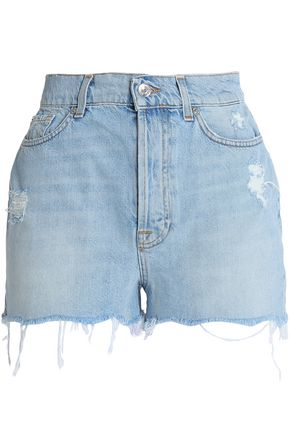 7 FOR ALL MANKIND Distressed frayed denim shorts