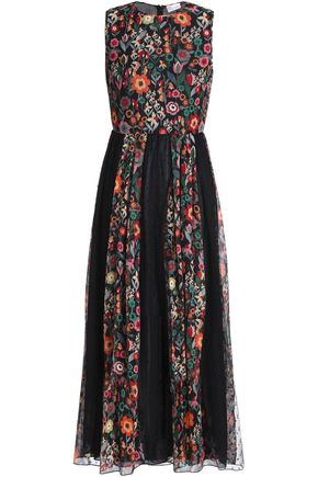 REDValentino Paneled floral-print georgette and point d'esprit midi dress