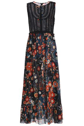 REDValentino Pussy-bow floral-print silk-georgette and point d'esprit midi dress