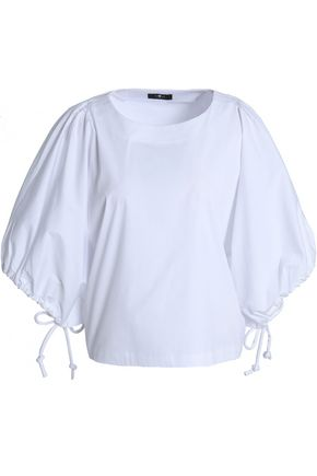 7 FOR ALL MANKIND Bow-detailed cotton-blend poplin top