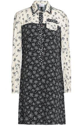 REDValentino Paneled printed crepe de chine mini shirtdress
